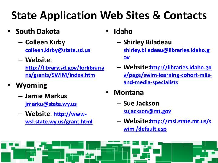 State Application Web Sites & Contacts