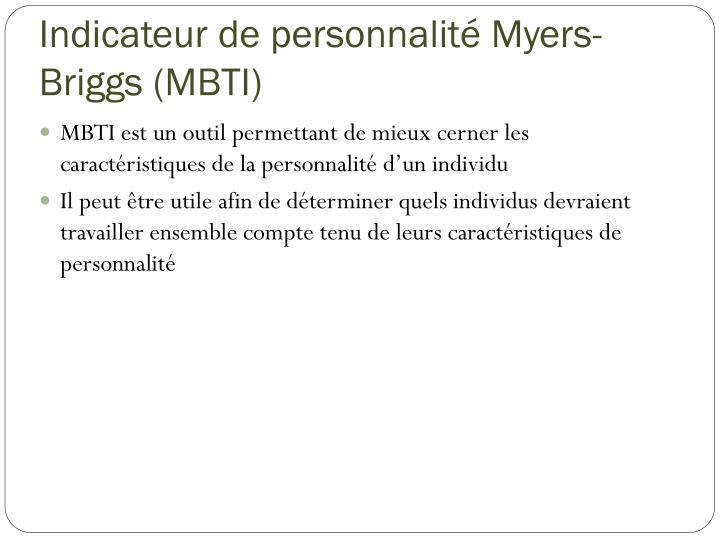 Indicateur de personnalité Myers-Briggs (MBTI)