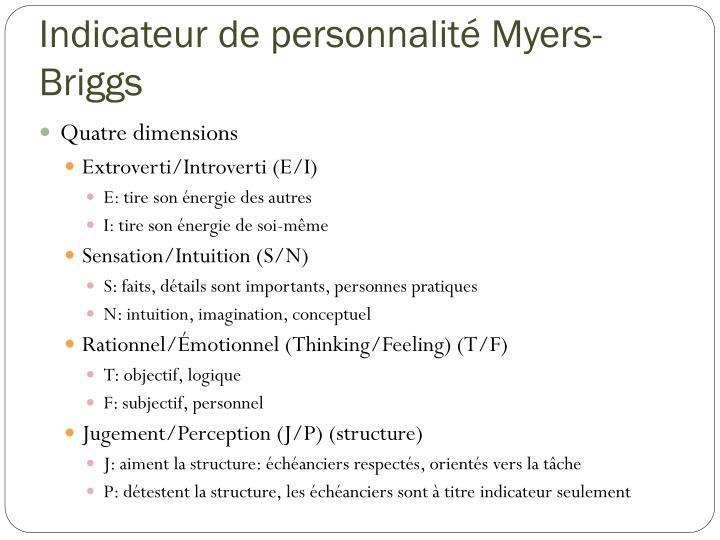 Indicateur de personnalité Myers-Briggs
