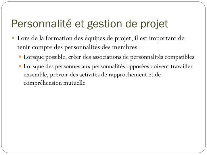 Personnalité et gestion de projet