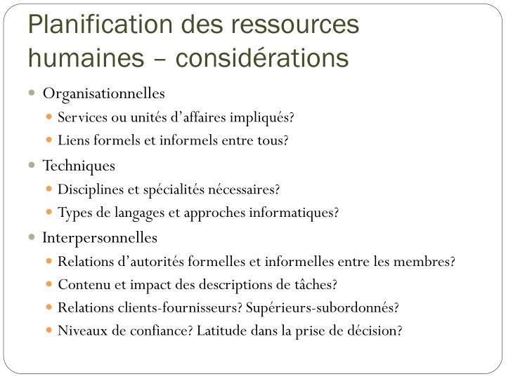 Planification des ressources humaines – considérations