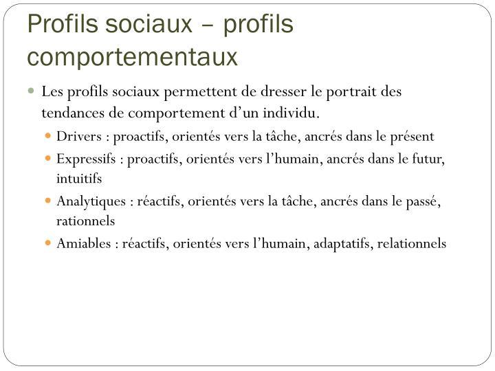 Profils sociaux – profils comportementaux