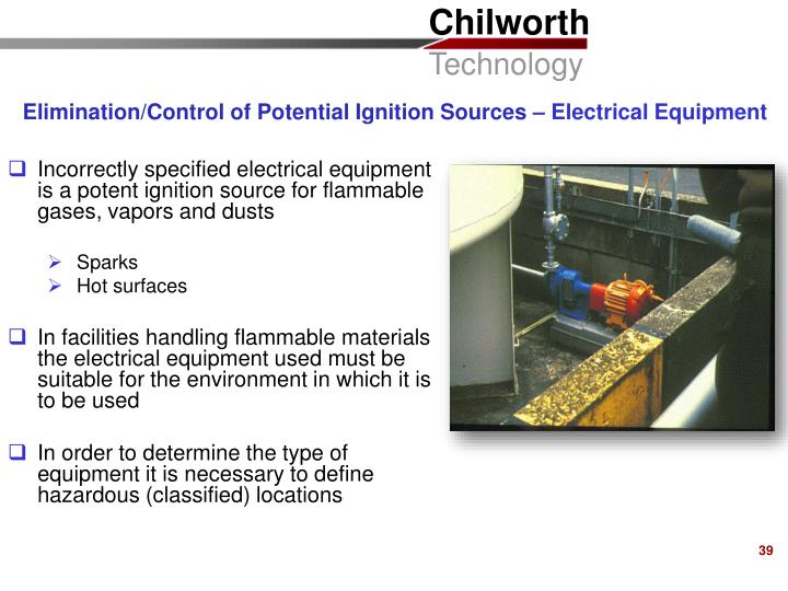 Elimination/Control of Potential Ignition Sources