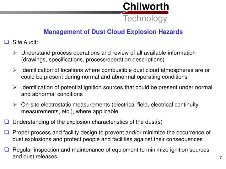 Management of Dust Cloud Explosion Hazards