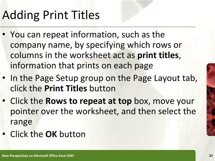 Adding Print Titles