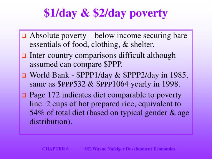 $1/day & $2/day poverty