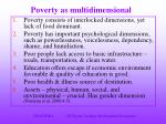 poverty as multidimensional