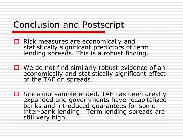 Conclusion and Postscript