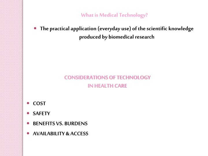 What is Medical Technology?