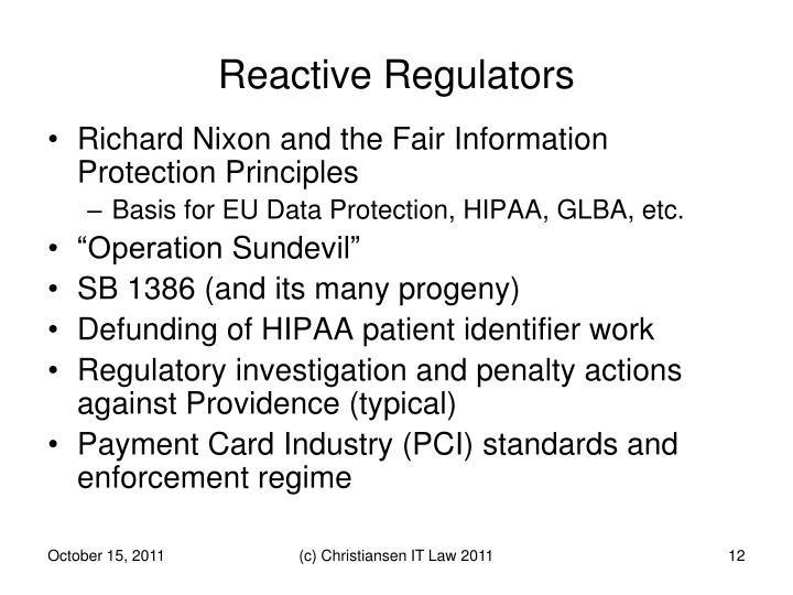 Reactive Regulators