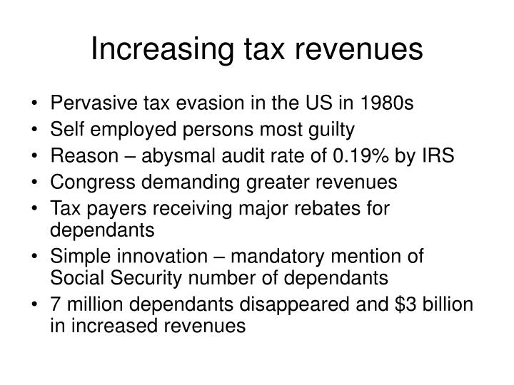 Increasing tax revenues