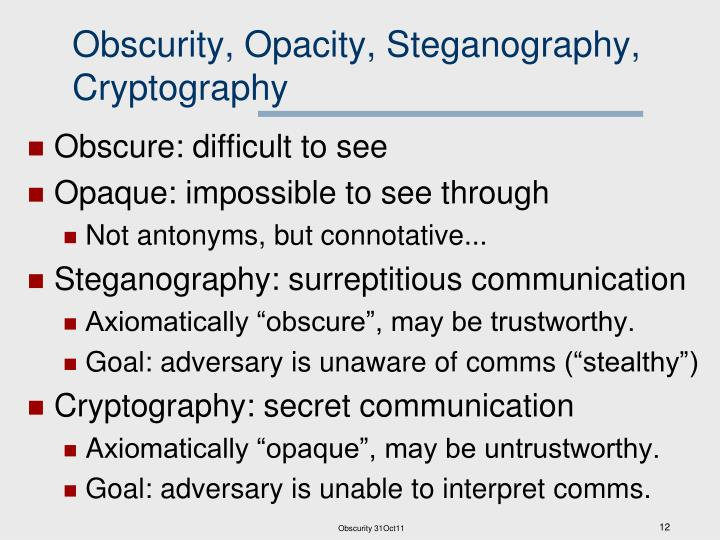 Obscurity, Opacity, Steganography, Cryptography