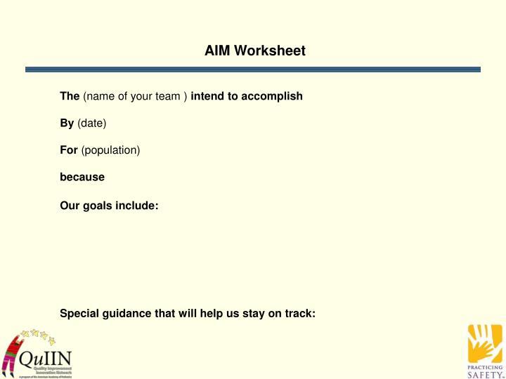 AIM Worksheet