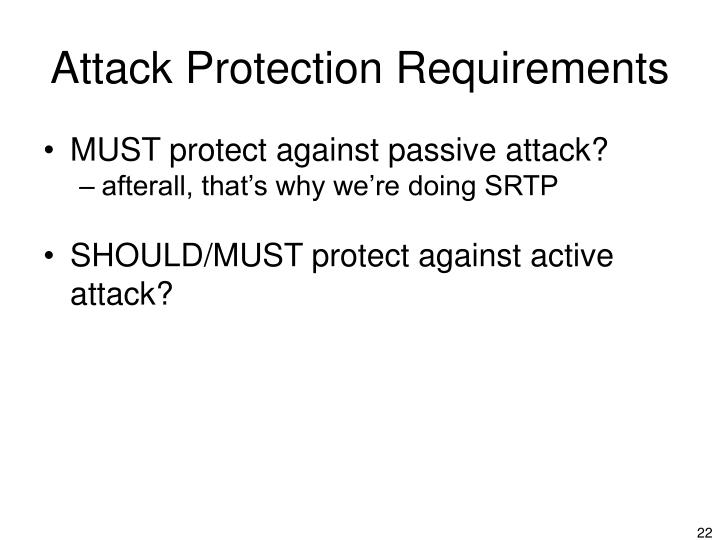 Attack Protection Requirements