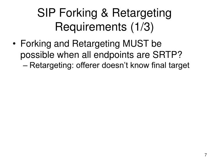 SIP Forking & Retargeting Requirements (1/3)