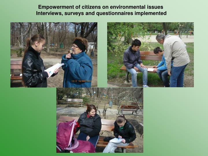 Empowerment of citizens on environmental issues