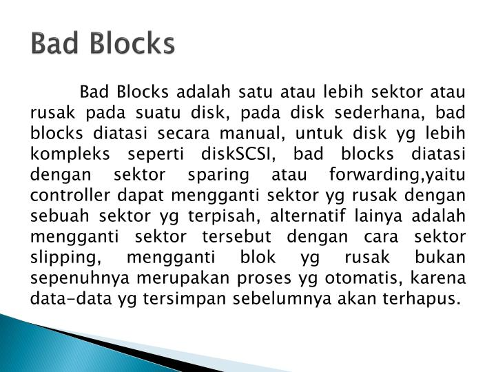 Bad Blocks