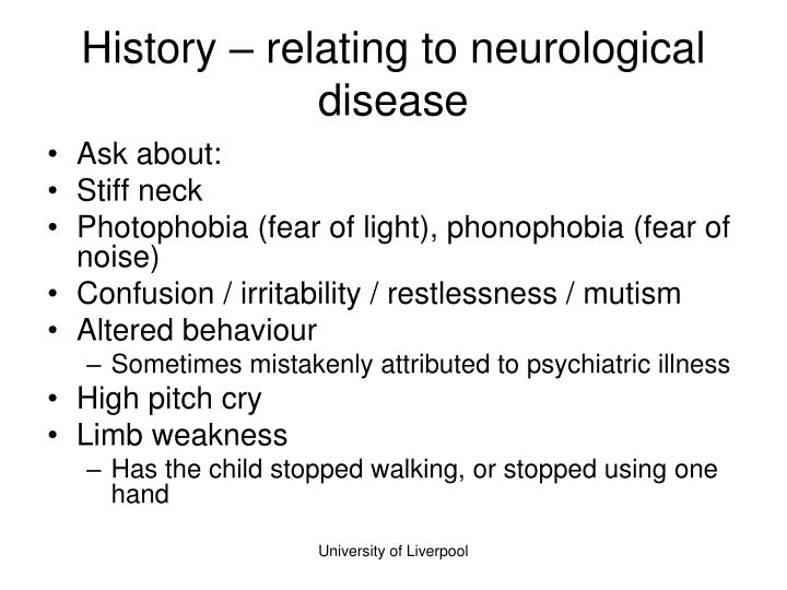 History – relating to neurological disease