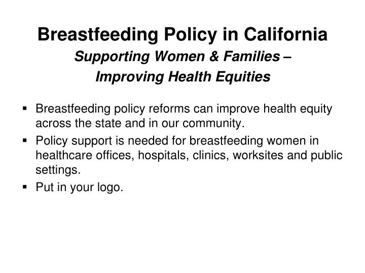 Breastfeeding policy in california