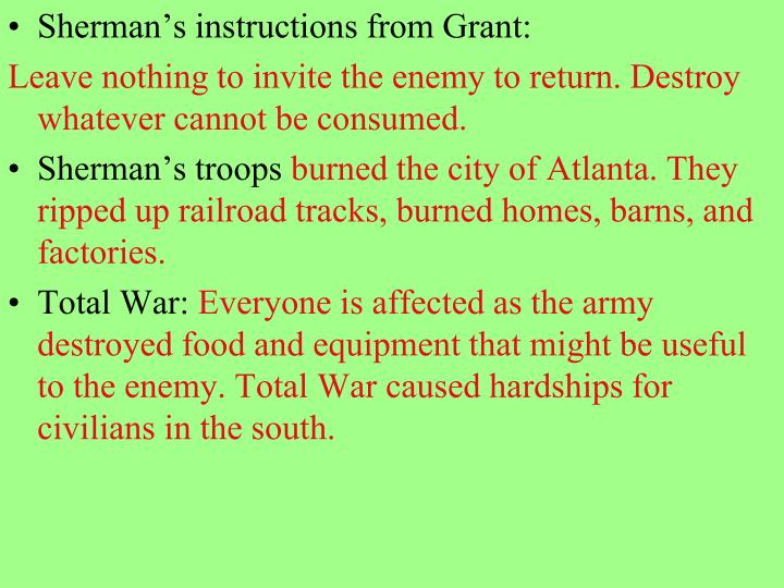 Sherman's instructions from Grant: