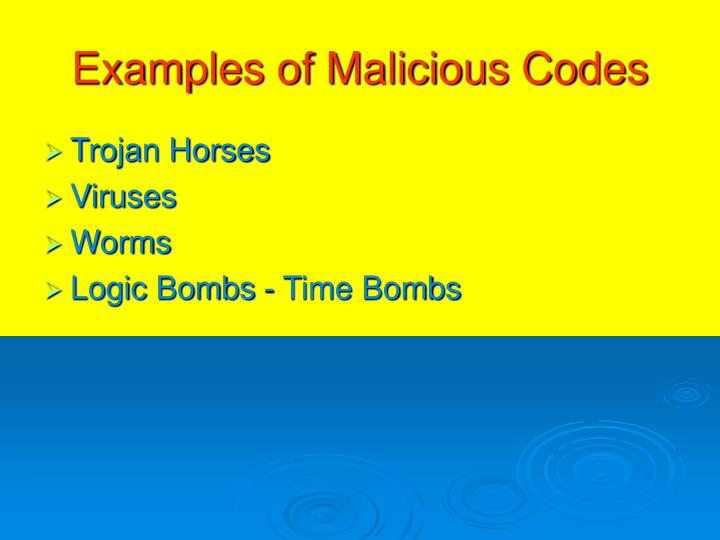 Examples of Malicious Codes