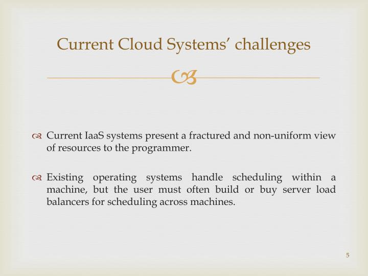 Current Cloud Systems' challenges