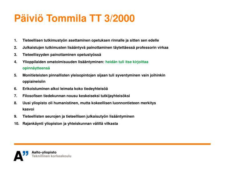 Päiviö Tommila TT 3/2000