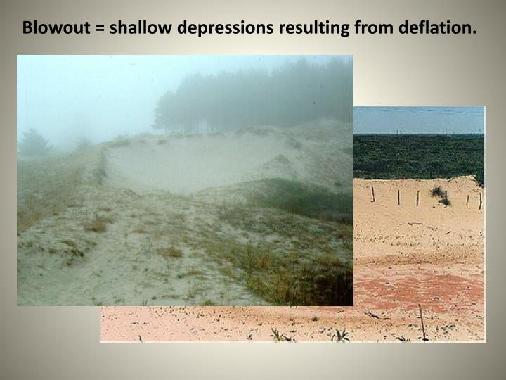 Blowout = shallow depressions resulting from deflation.
