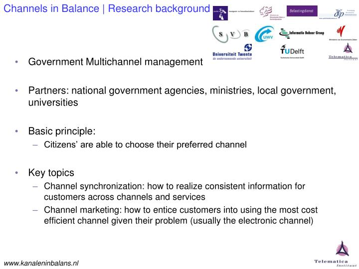 Channels in balance research background