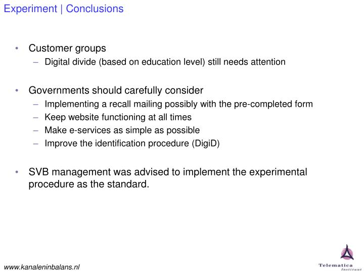 Experiment | Conclusions