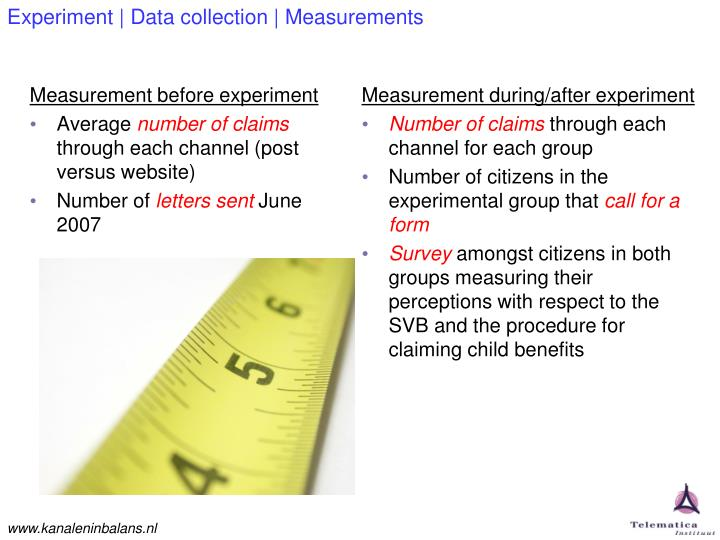 Experiment | Data collection | Measurements