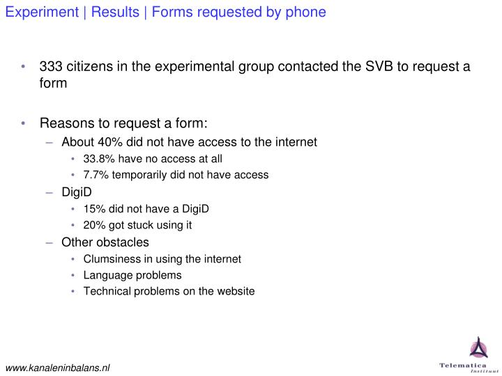 Experiment | Results | Forms requested by phone