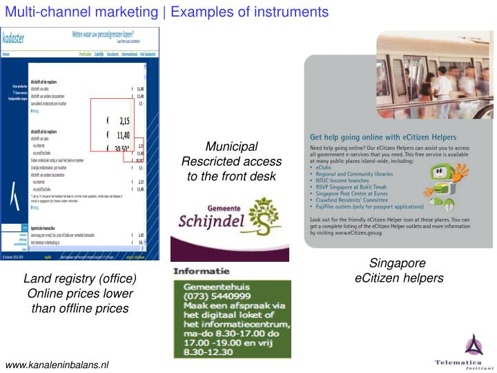 Multi-channel marketing | Examples of instruments