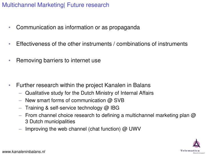 Multichannel Marketing| Future research