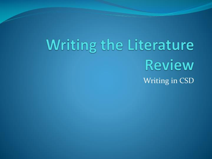 literature presentation Writing a literature review and proposal organizing your literature review powerpoint presentation literature review common errors made in lit reviews.