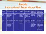 sample instructional supervisory plan