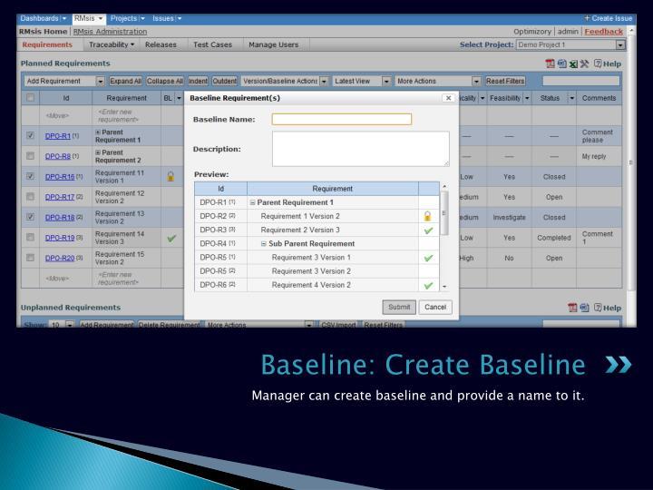 Baseline: Create Baseline