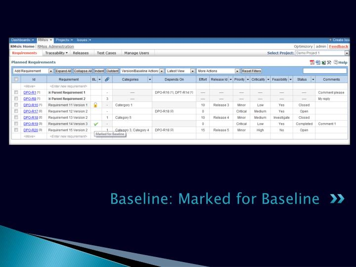 Baseline: Marked for Baseline