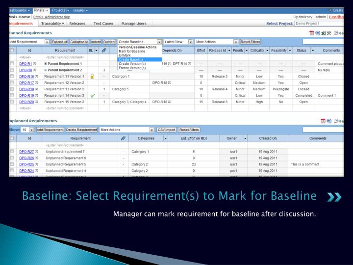 Baseline: Select Requirement(s) to Mark for Baseline