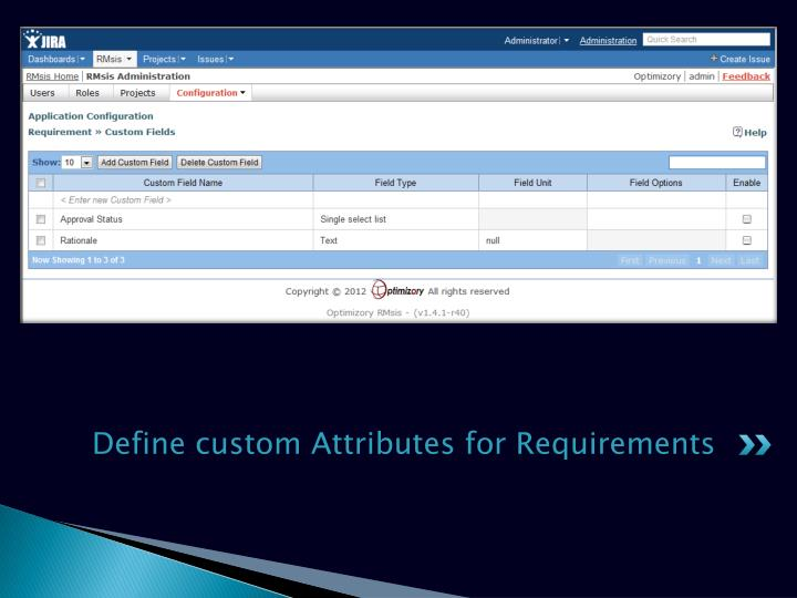 Define custom Attributes for Requirements