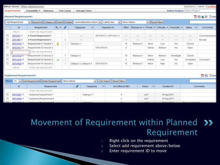 Movement of Requirement within Planned Requirement