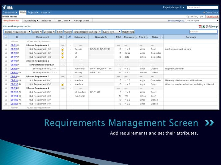 Requirements Management Screen
