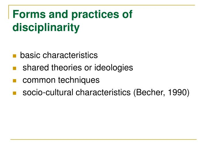 Forms and practices of disciplinarity