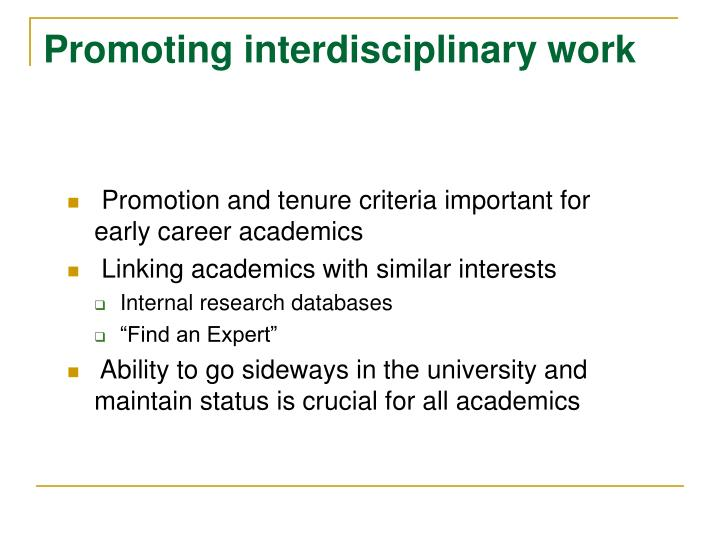 Promoting interdisciplinary work