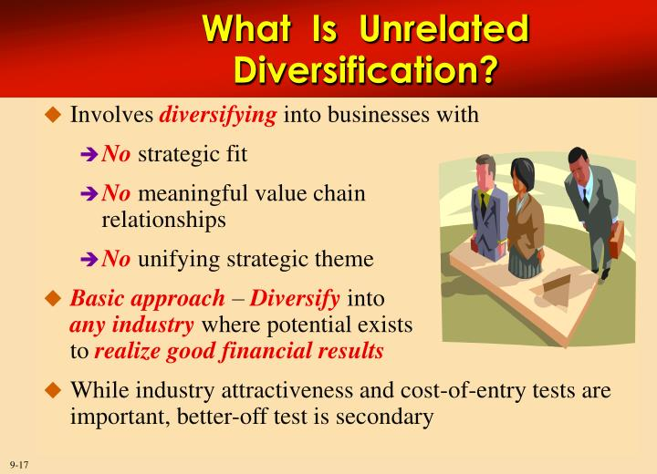 Unrelated diversification strategy can create value