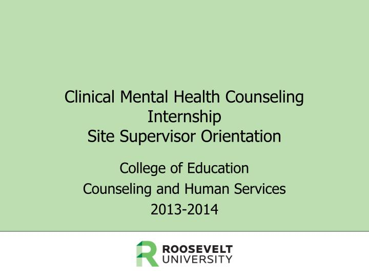 Clinical mental health counseling internship site supervisor orientation