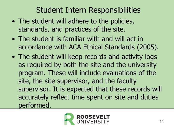 Student Intern Responsibilities