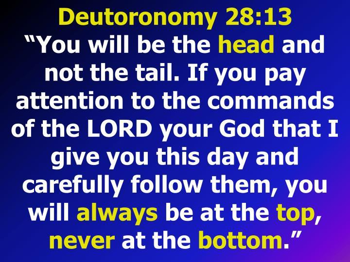 Deutoronomy 28:13