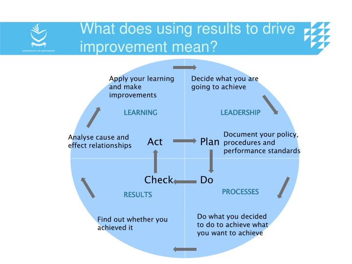 What does using results to drive improvement mean