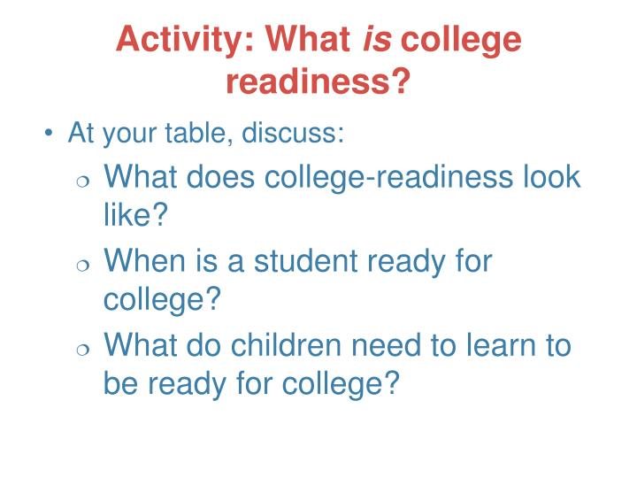 Activity what is college readiness